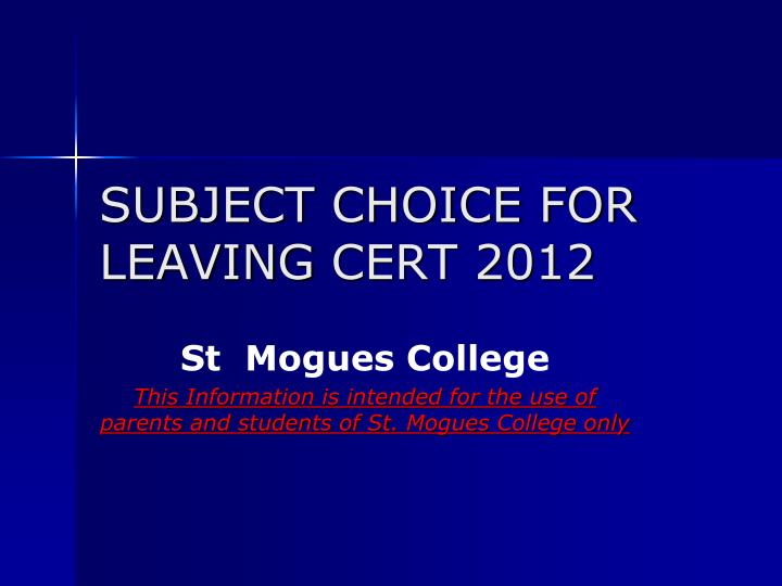Subject choice for leaving cert 2012 l.jpg
