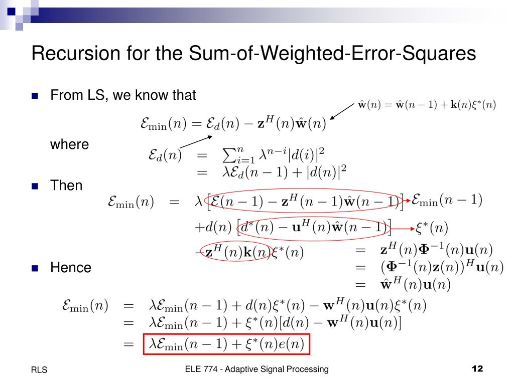 Recursion for the Sum-of-Weighted-Error-Squares