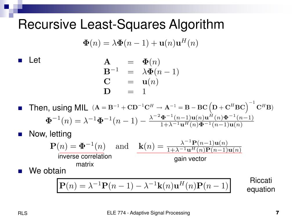 Recursive Least-Squares Algorithm