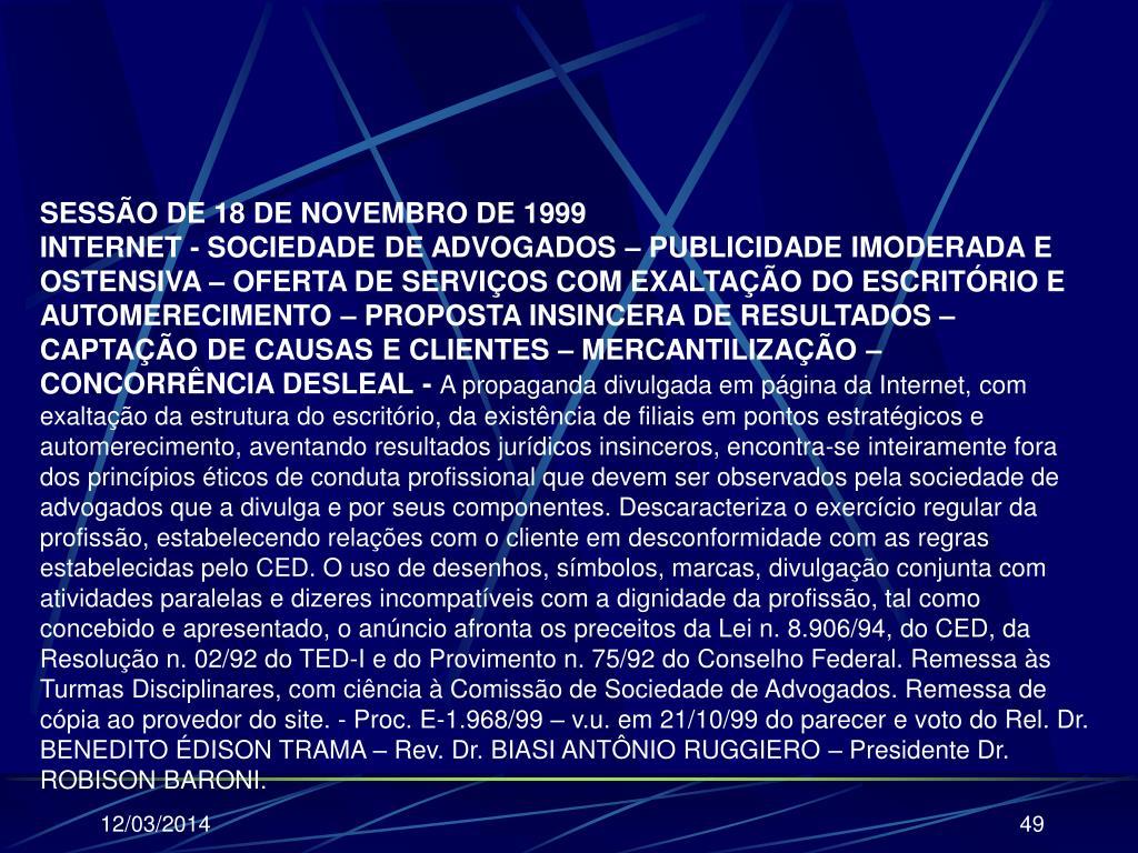 SESSÃO DE 18 DE NOVEMBRO DE 1999