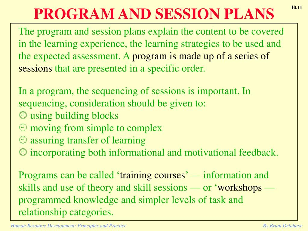PROGRAM AND SESSION PLANS