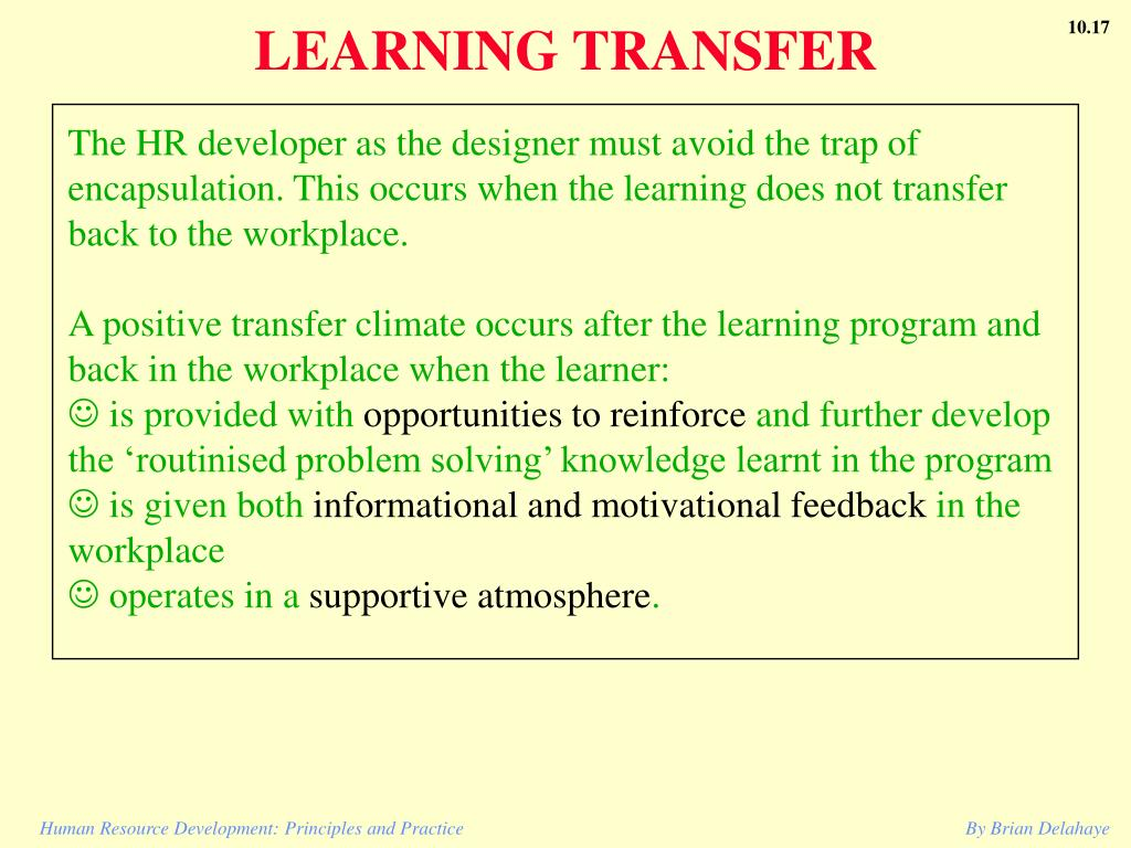 LEARNING TRANSFER