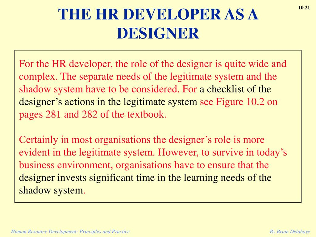 THE HR DEVELOPER AS A DESIGNER