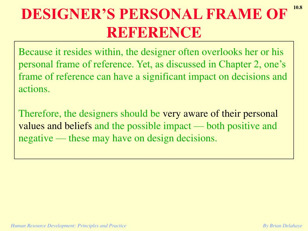 DESIGNER'S PERSONAL FRAME OF REFERENCE