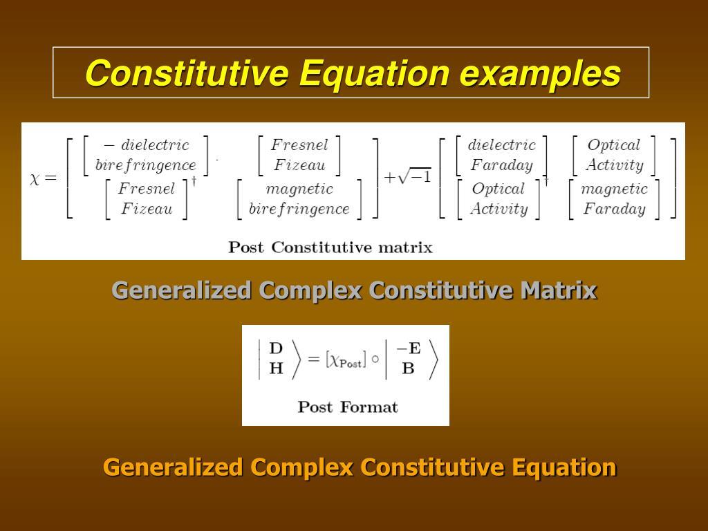Constitutive Equation examples