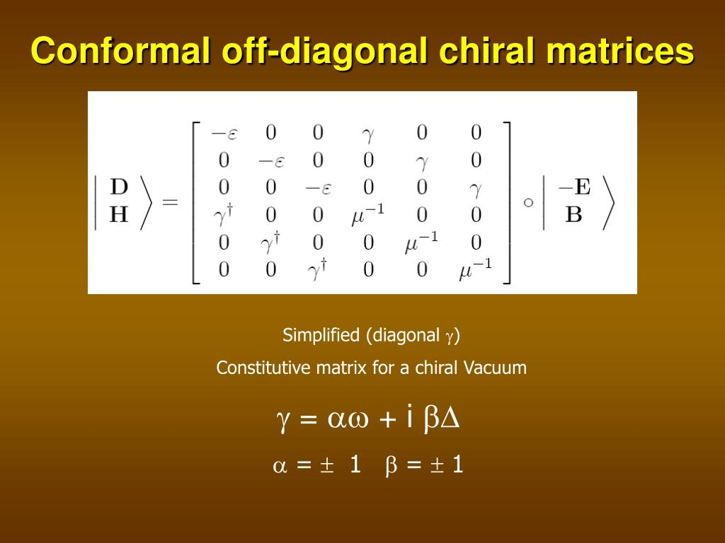 Conformal off-diagonal chiral matrices