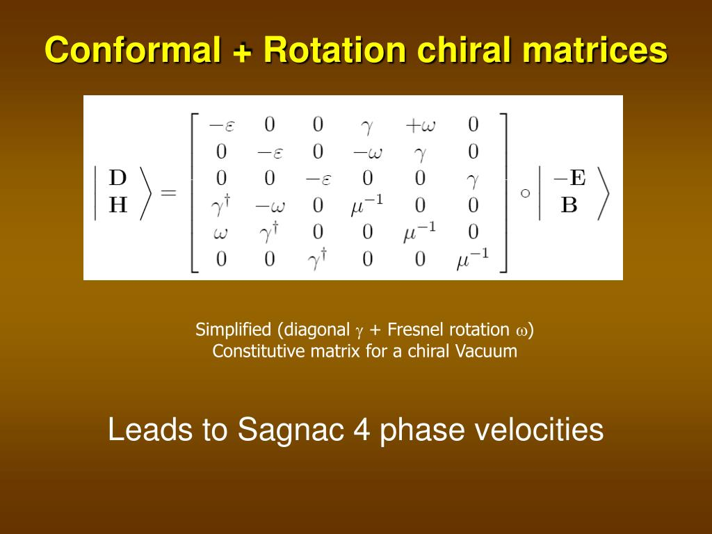 Conformal + Rotation chiral matrices