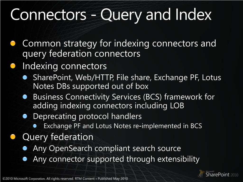 Connectors - Query and Index
