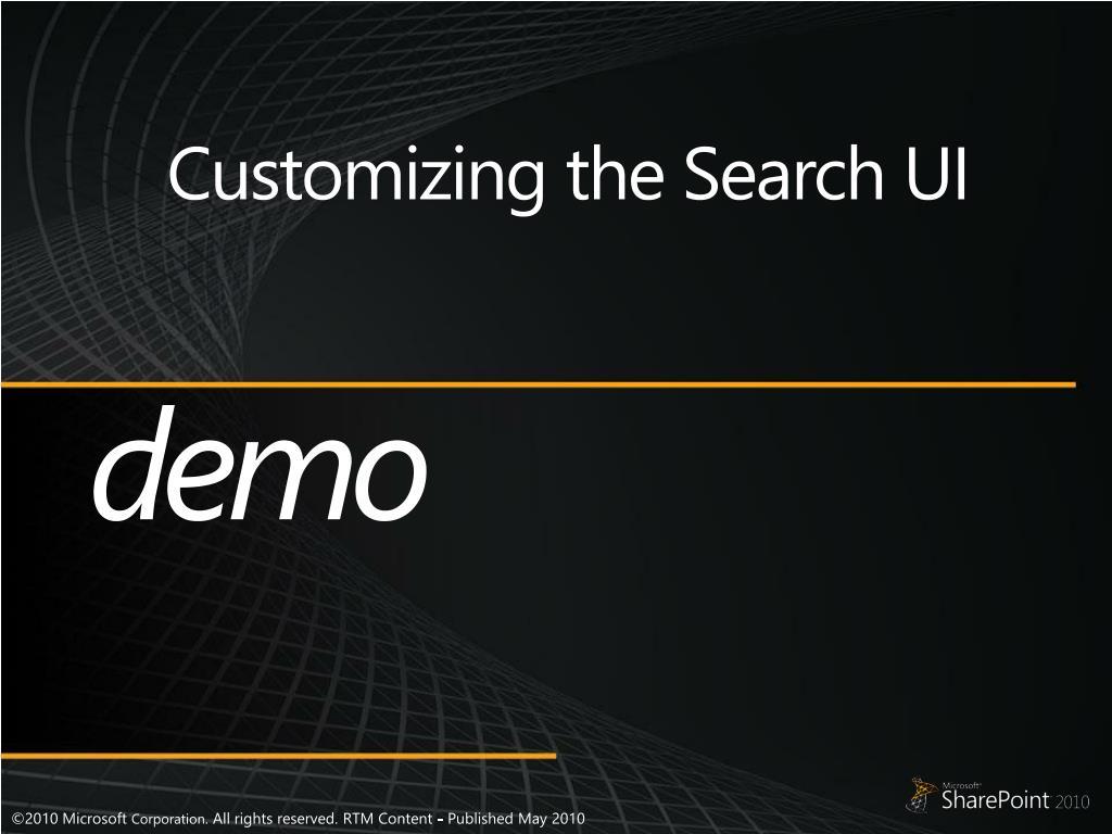 Customizing the Search UI