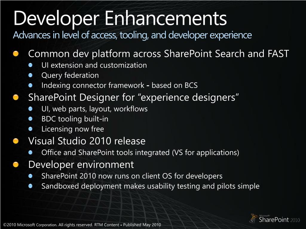 Developer Enhancements
