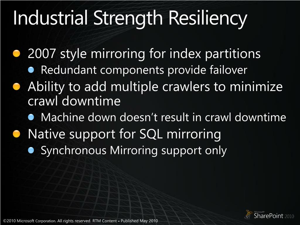 Industrial Strength Resiliency