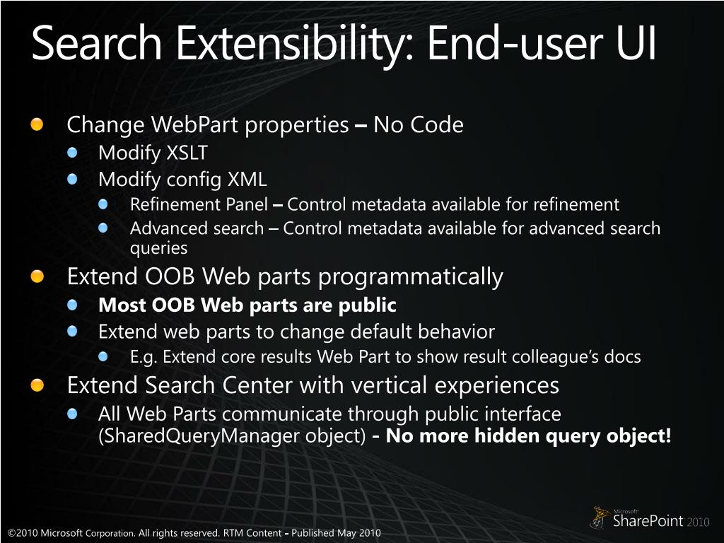 Search Extensibility: End-user UI