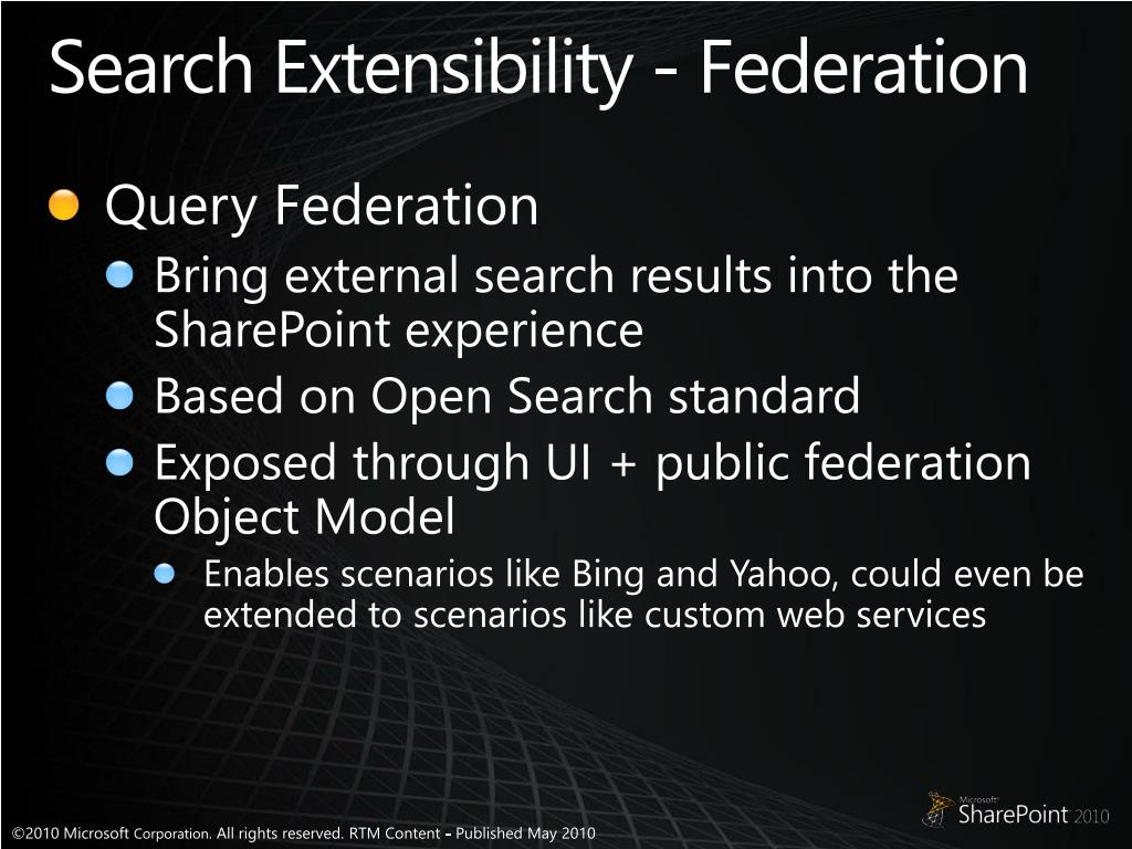 Search Extensibility - Federation