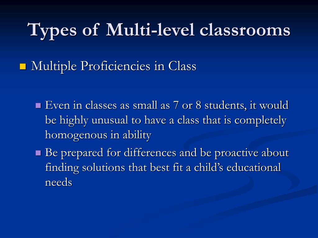 Types of Multi-level classrooms