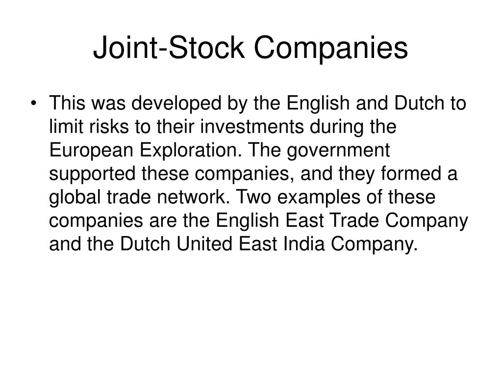 Joint-Stock Companies