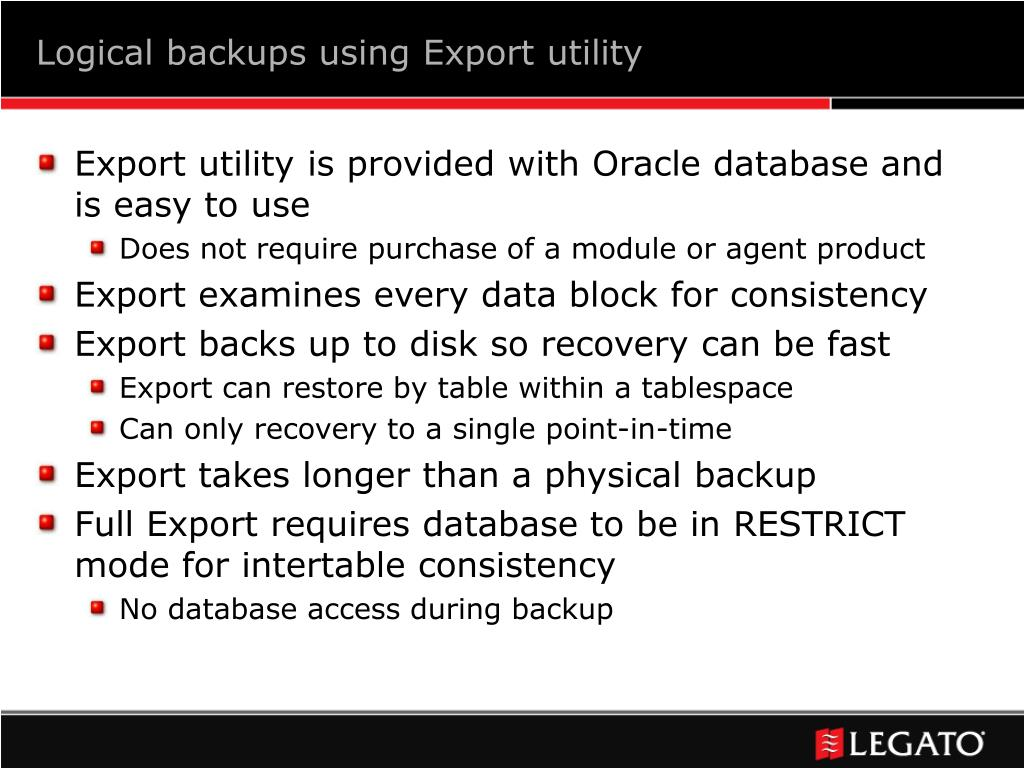 Logical backups using Export utility