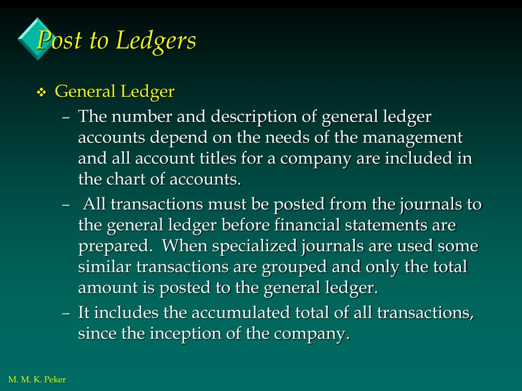 Post to Ledgers
