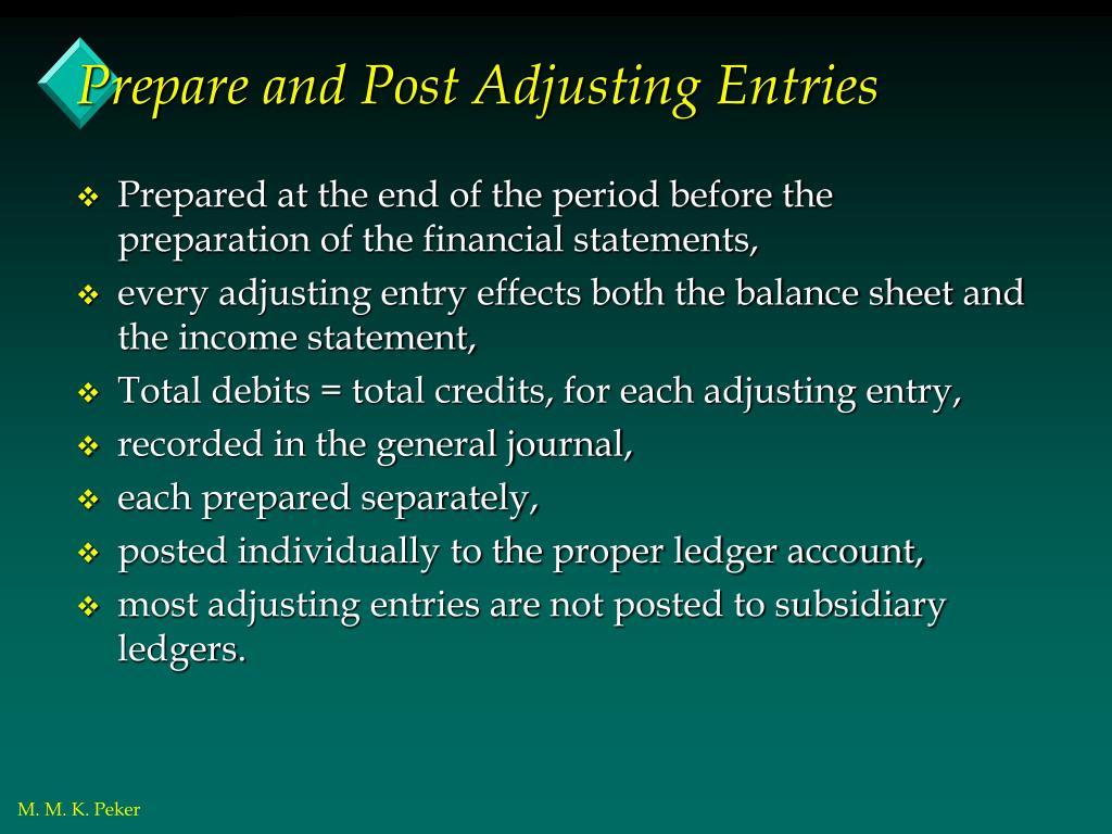 Prepare and Post Adjusting Entries