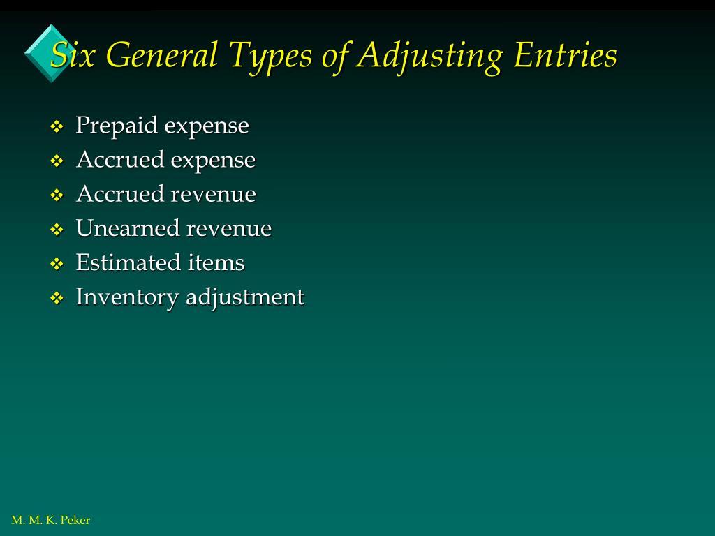 Six General Types of Adjusting Entries