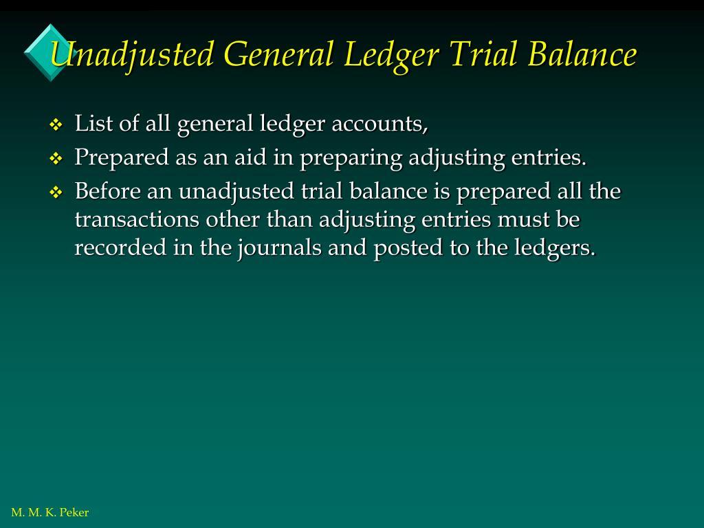 Unadjusted General Ledger Trial Balance
