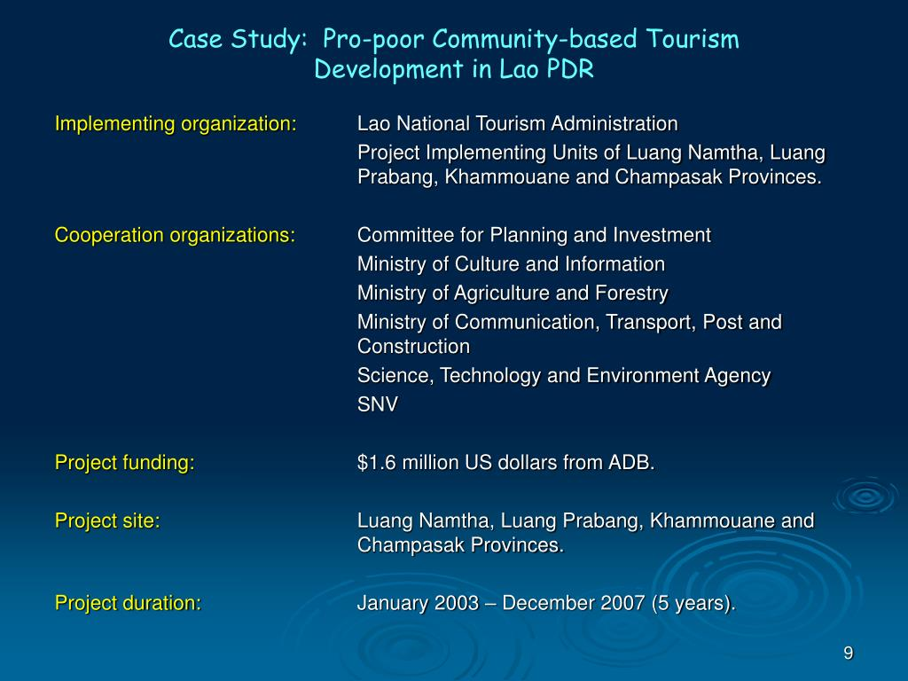 Case Study:  Pro-poor Community-based Tourism