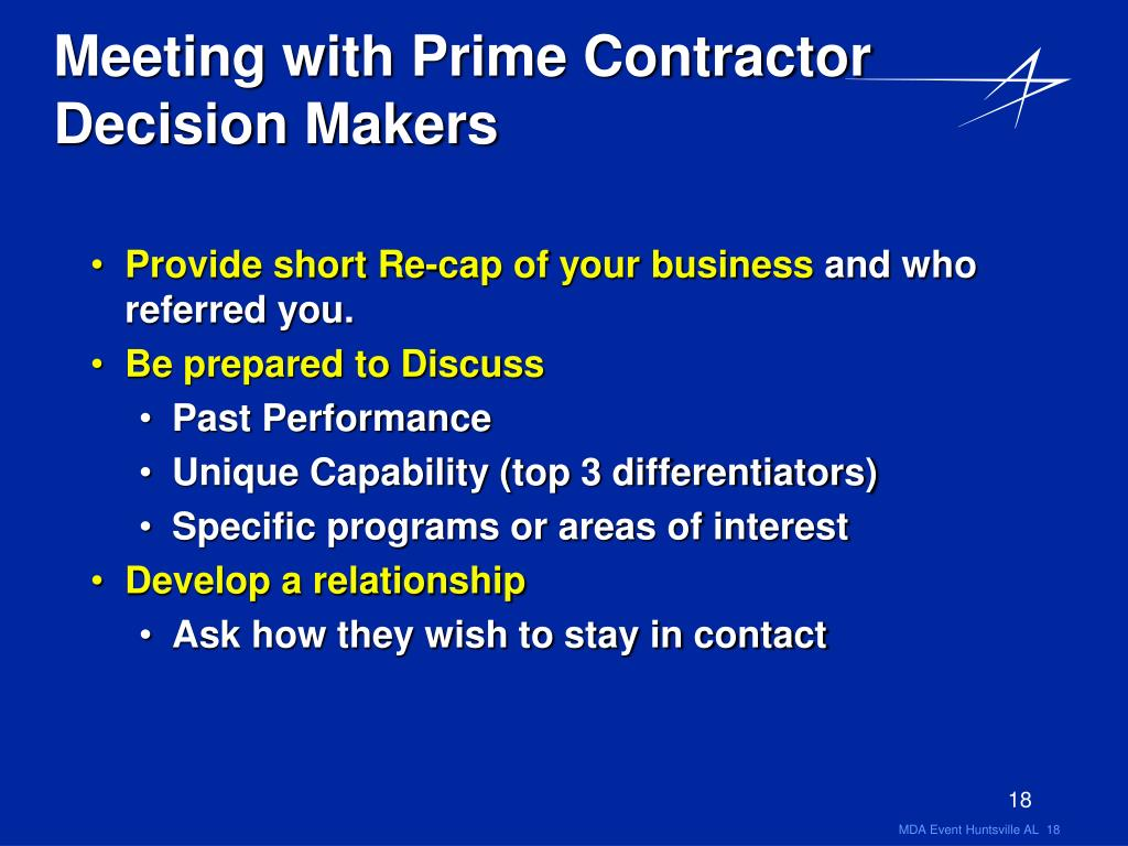 Meeting with Prime Contractor Decision Makers