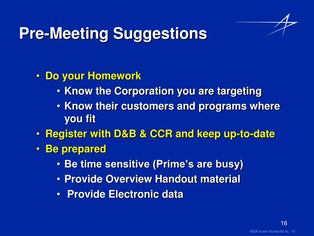 Pre-Meeting Suggestions