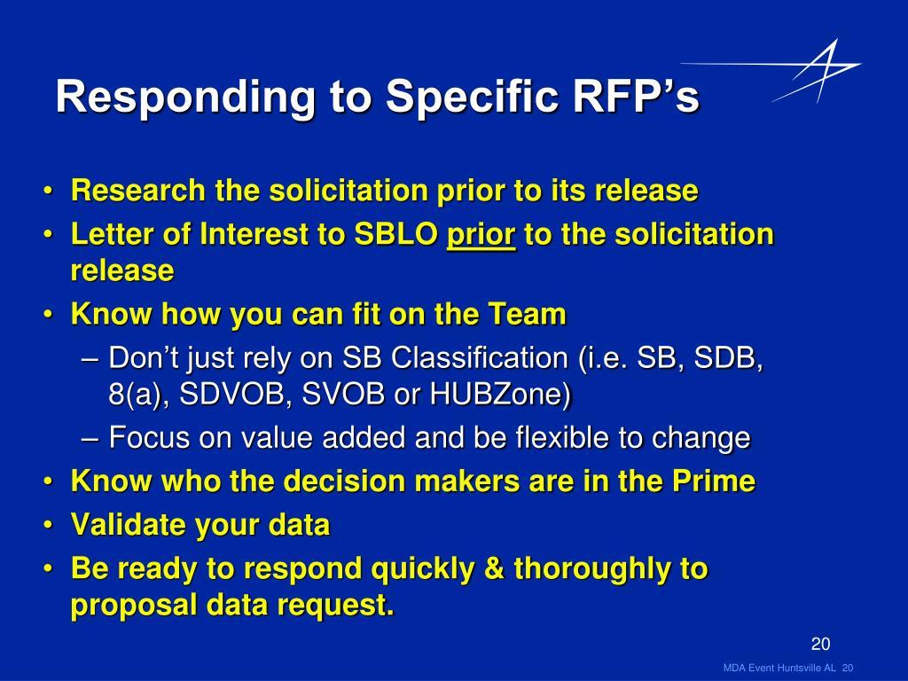 Responding to Specific RFP's
