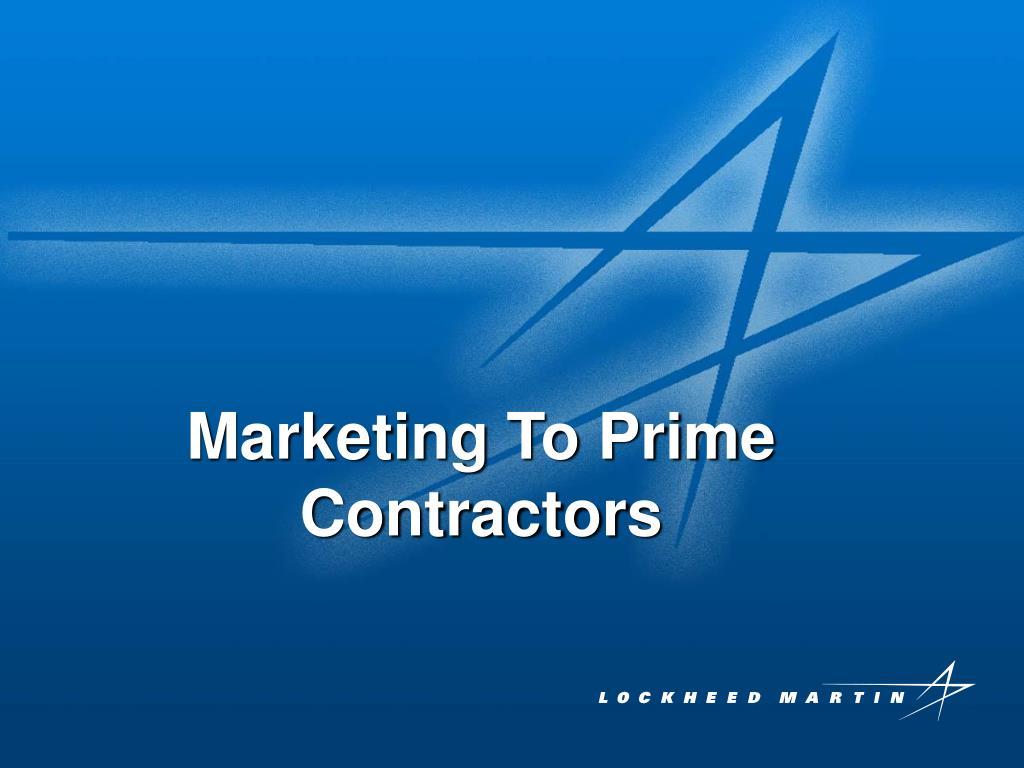 Marketing To Prime Contractors