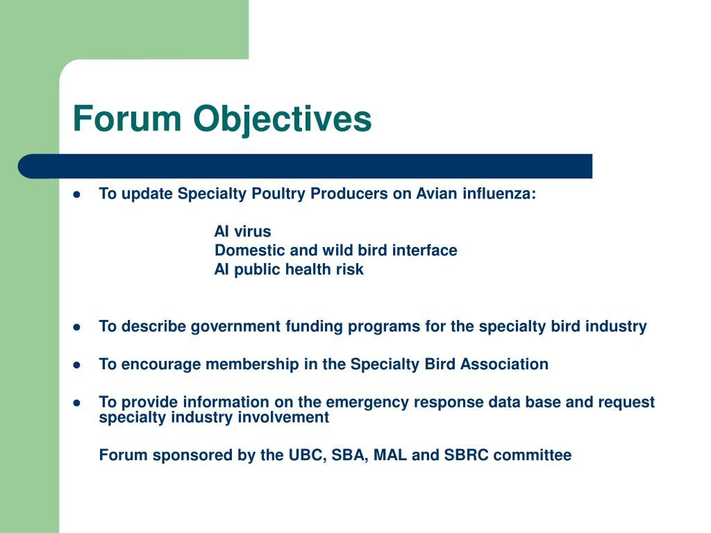 Forum Objectives
