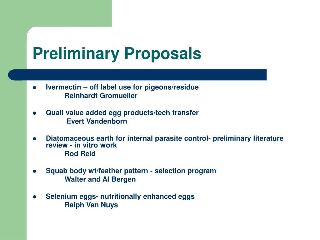 Preliminary Proposals