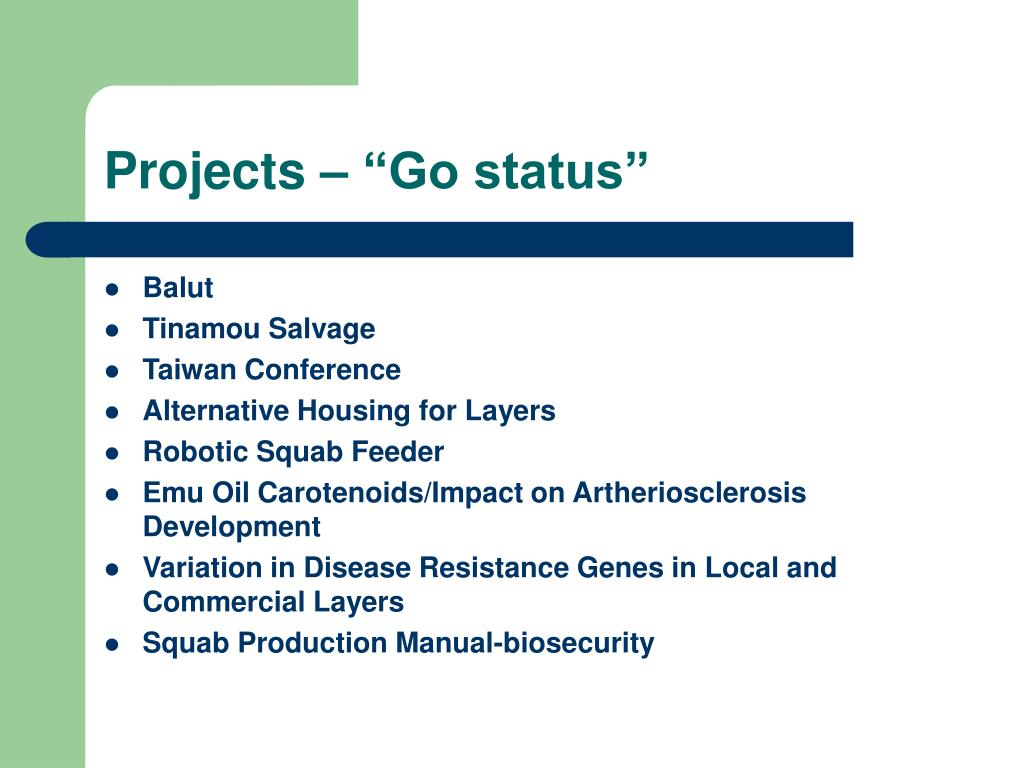 "Projects – ""Go status"""