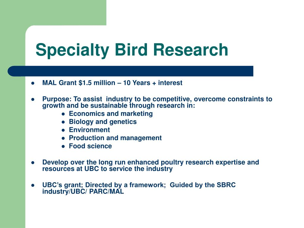 Specialty Bird Research