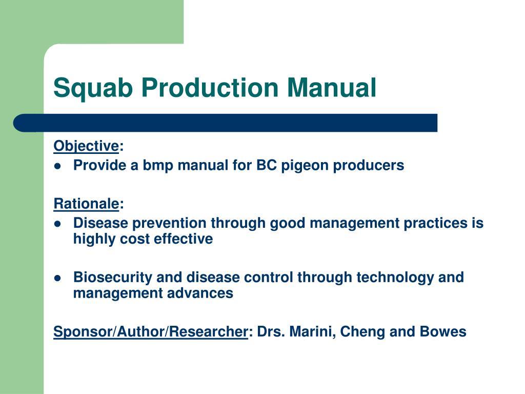 Squab Production Manual