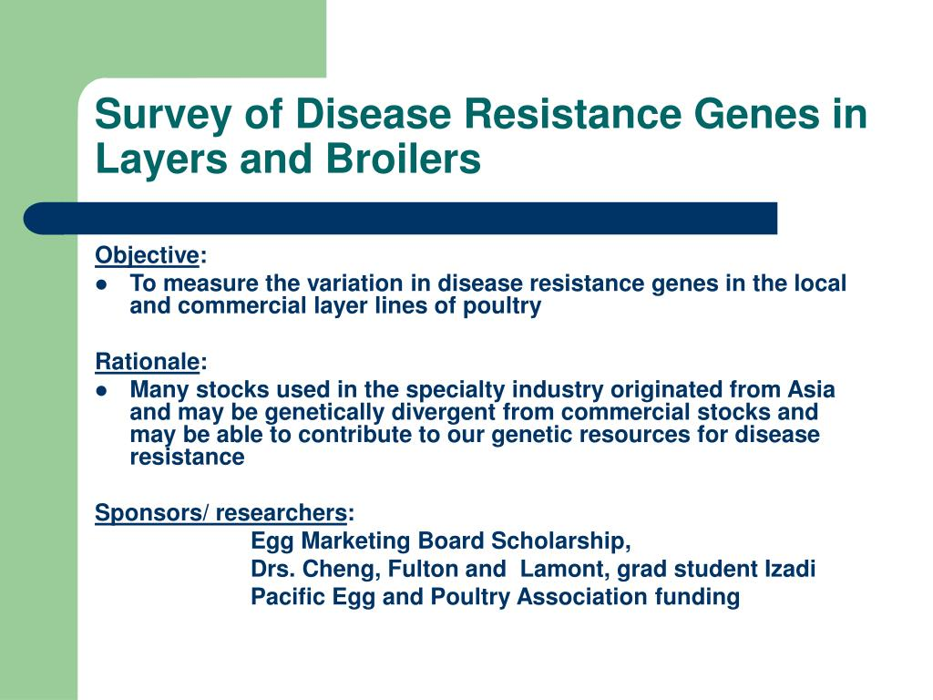 Survey of Disease Resistance Genes in Layers and Broilers