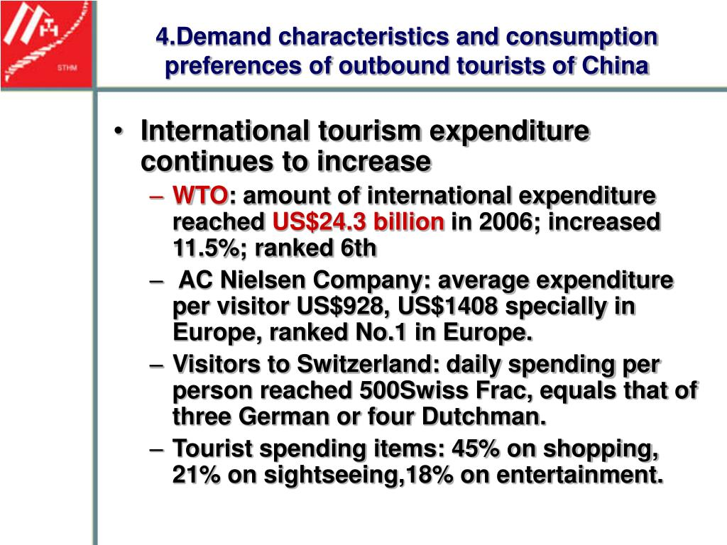 tourism demand and expenditure 2016 results on expenditure from major outbound markets reflect increasing demand for international tourism across the world, as reported in the latest unwto world tourism barometer with a 12% increase in spending, china continued to lead international outbound tourism, followed by the united .