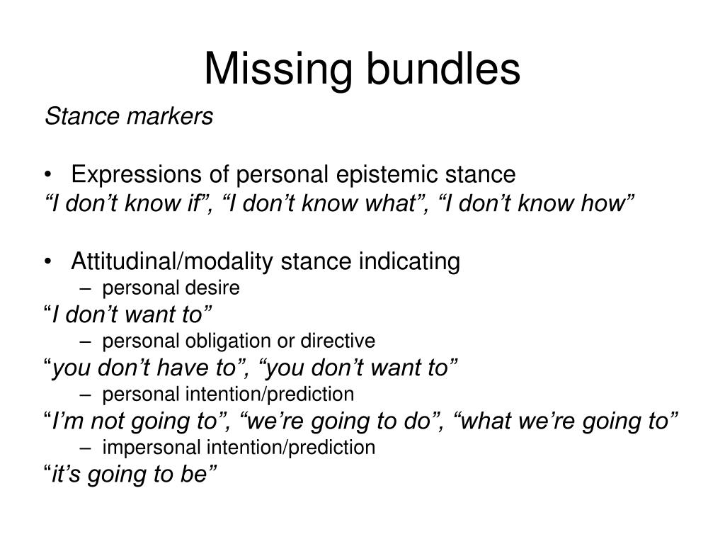 Missing bundles
