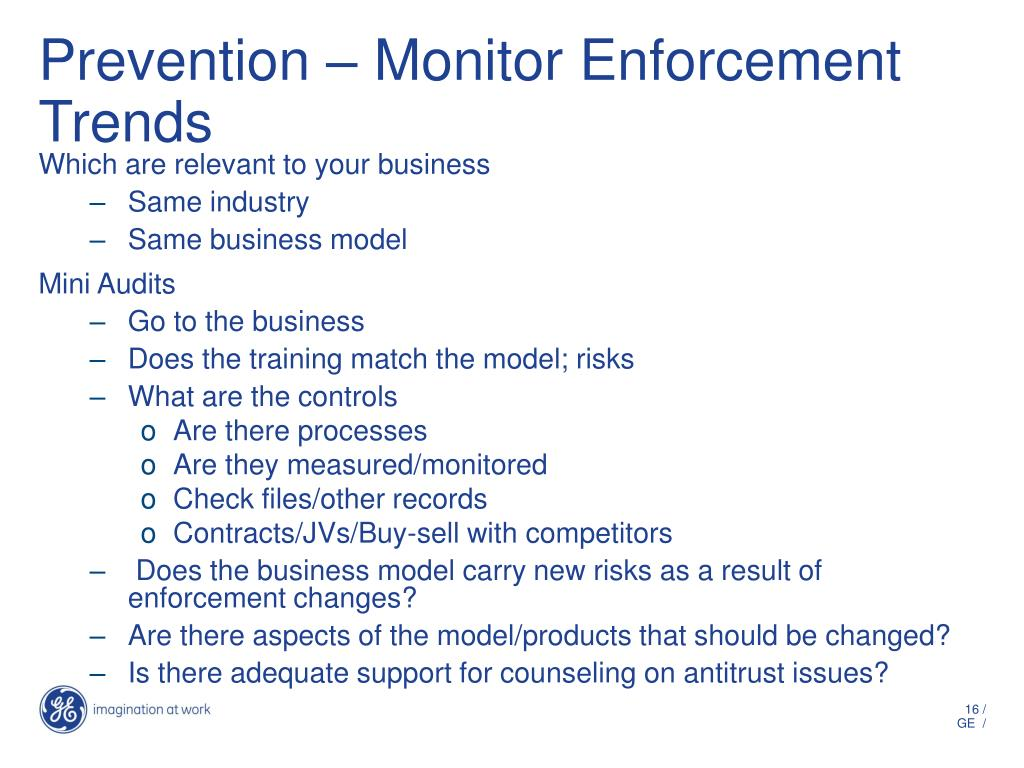 Prevention – Monitor Enforcement Trends