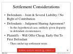 settlement considerations