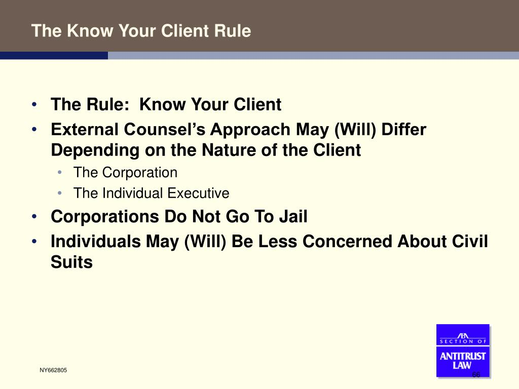 The Know Your Client Rule