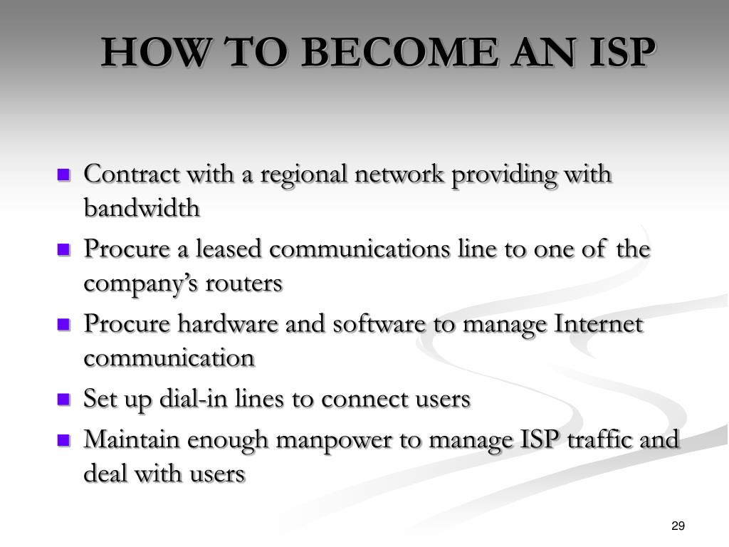 HOW TO BECOME AN ISP