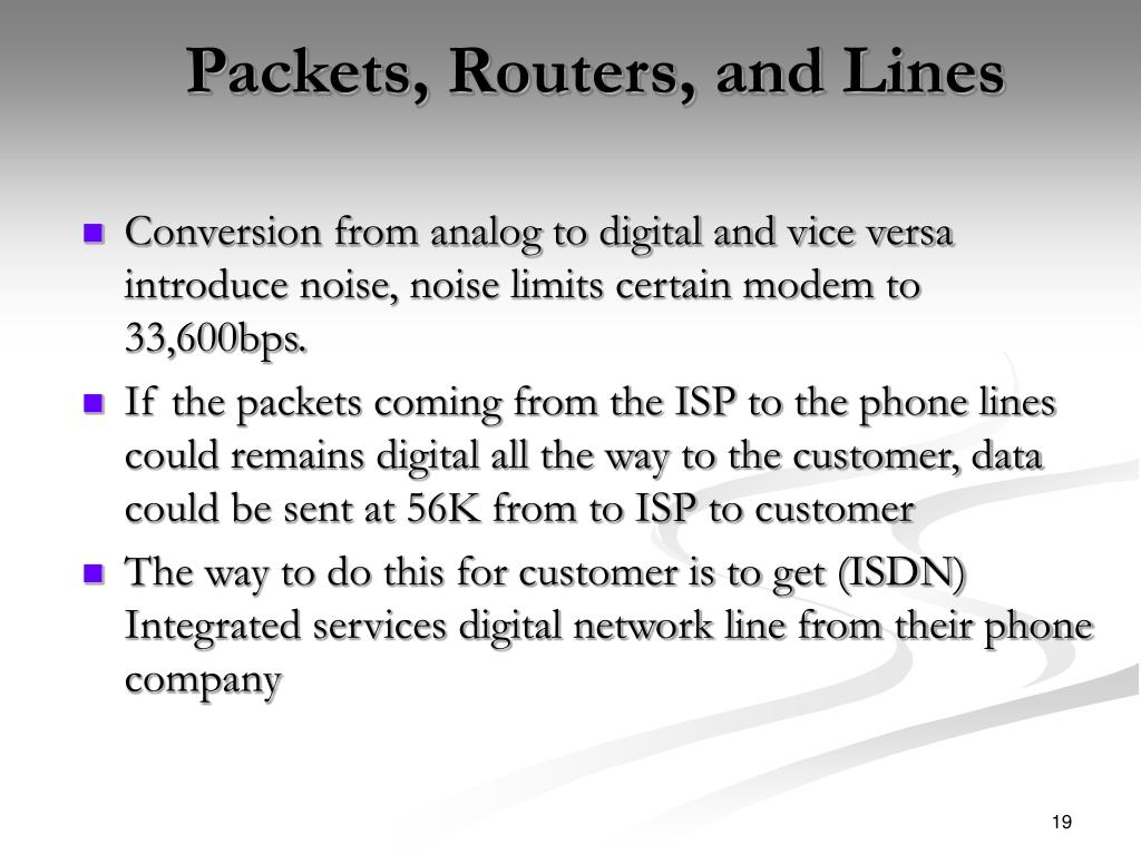 Packets, Routers, and Lines