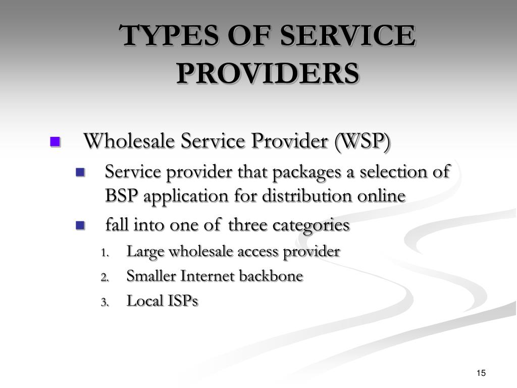 TYPES OF SERVICE PROVIDERS