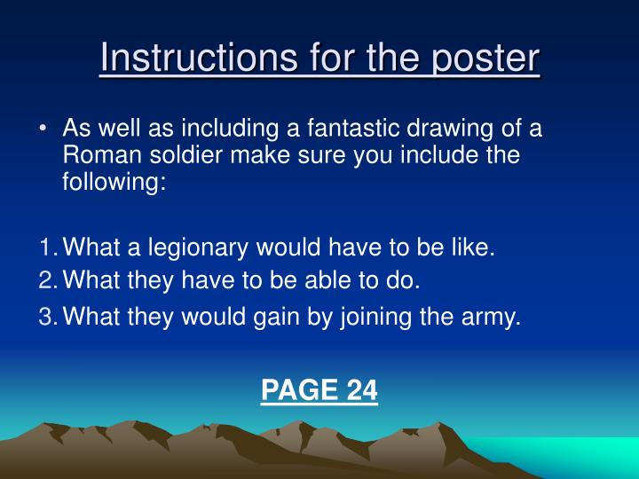 Instructions for the poster