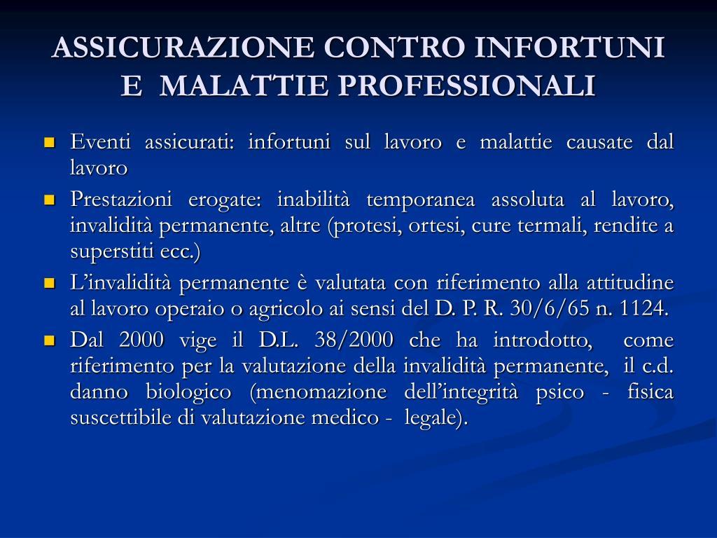 ASSICURAZIONE CONTRO INFORTUNI E  MALATTIE PROFESSIONALI