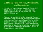 additional requirements prohibitions and restrictions23