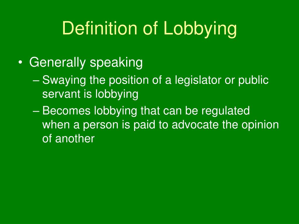 Definition of Lobbying