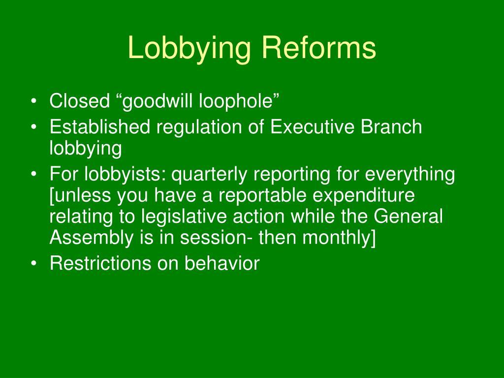 Lobbying Reforms