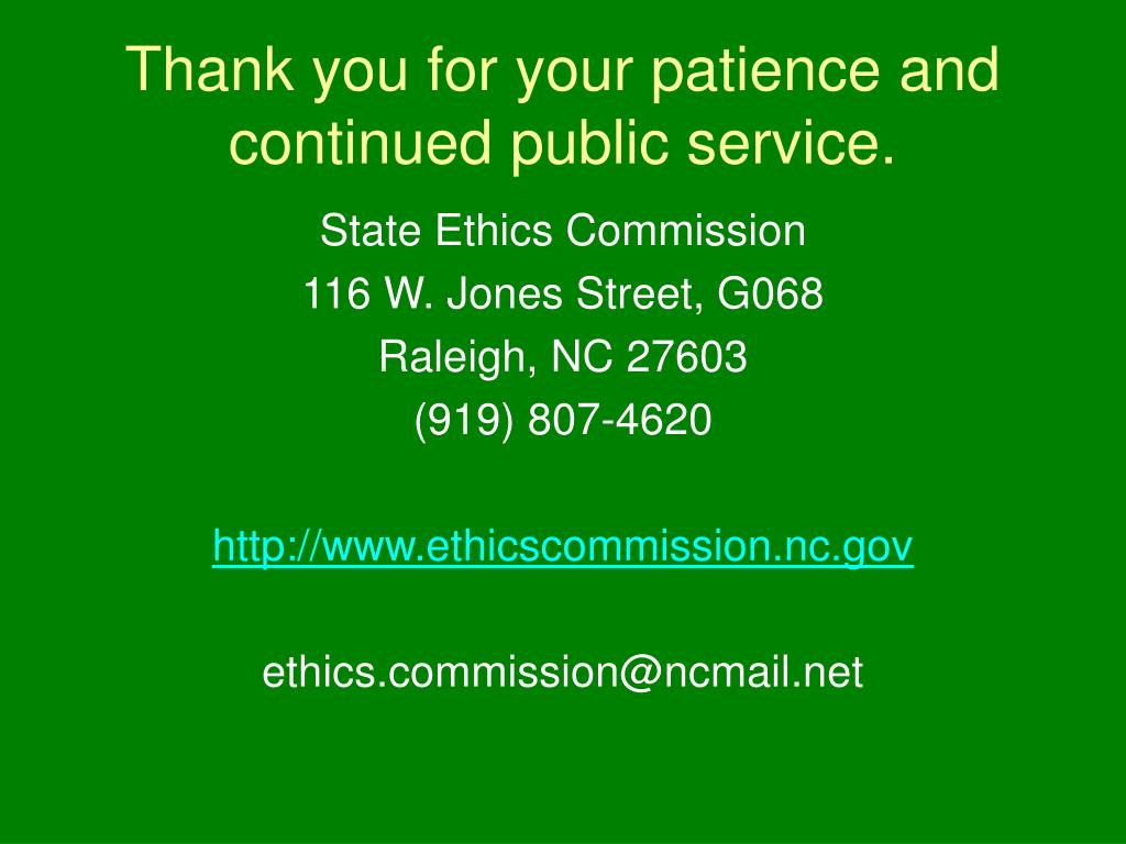 Thank you for your patience and continued public service.