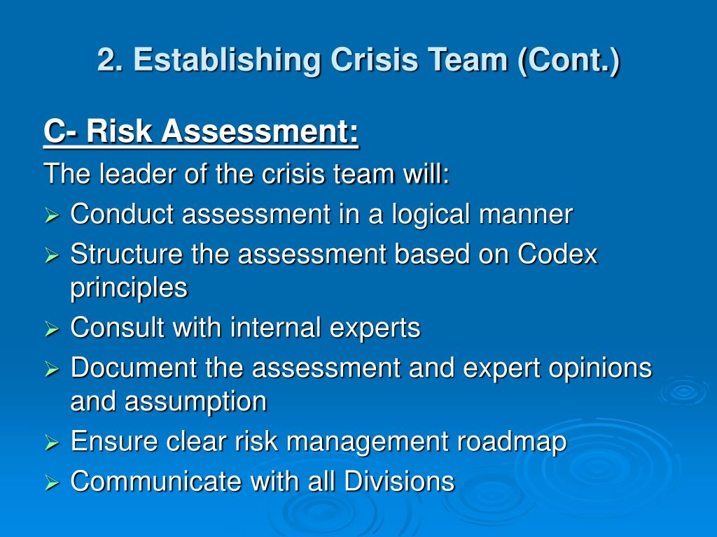 2. Establishing Crisis Team (Cont.)